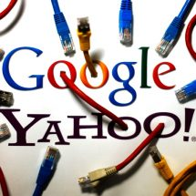 An illustration picture shows the logos of Google and Yahoo connected with LAN cables in a Berlin office October 31, 2013. The National Security Agency has tapped directly into communications links used by Google and Yahoo to move huge amounts of email and other user information among overseas data centers, the Washington Post reported on Wednesday. The report, based on secret NSA documents leaked by former contractor Edward Snowden, appears to show the agency has used weak restrictions on its overseas activities to exploit major U.S. companies' data to a far greater extent than realized.  REUTERS/Pawel Kopczynski (GERMANY - Tags: POLITICS BUSINESS TELECOMS) - RTX14UYT