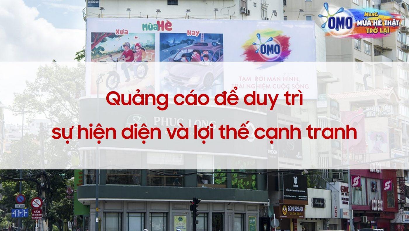 quảng cáo để duy trì nhận diện thương hiệu và lợi thế cạnh tranh